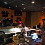 André Bowman (at desk), Jeff Barnes and Steve Scanlon at Record Plant Recording Studios