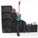 Carl Young, bass player & Wayne Jones AUDIO endorsee. At Center Staging, 3407 Winona Ave., Burbank, CA 91504.