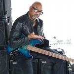 Bass player Carl Young @ Wayne Jones AUDIO photo shoot, March 2016