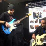 Drew Dedman, bass player for Superheist & Chris Bekker - Wayne Jones AUDIO stand, Melbourne Guitar Show 2016