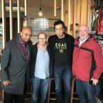 Fallon Williams, Wayne Jones, Jimmy Haslip & Steve Scanlon. Catching up Sunday morning coffee.