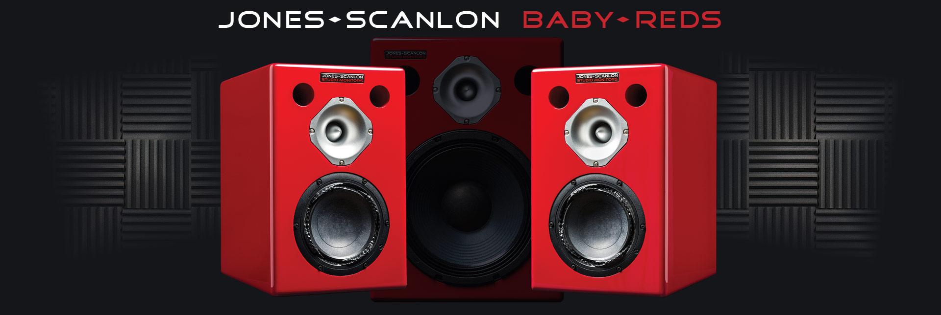 Jones-Scanlon Baby Reds studio monitors - recording engineering, audio and film post production, sound track mastering, audio mixing, sound mixing, recording studio gear.