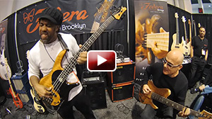 Victor Wooten & Dominic Dipiazza at the Fodera booth NAMM 2016. Victor is using the WJ 1000 Watt powered 2x10 Cab & the WJBP Bass pre amp.