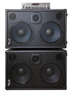 WJ 2x10 powered 1000 watt bass guitar cabinets with WJBP Pre-Amp DI