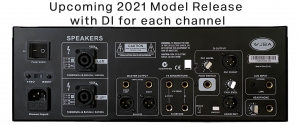 WJBA 2000 Watt Bass Guitar Amplifier with built in Twin Channel Bass Pre-Amp, featuring separate DI for each channel and the option of phantom power on the second channel. 2000 Watts into 4 or 8 Ohms.