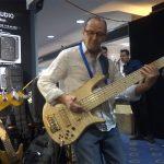 Wayne Jones with his Custom Fodera Monarch Elite 6 - Melbourne Guitar Show 2016