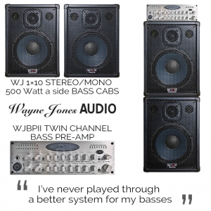 Wayne Jones Audio 1×10 Stereo/Mono Bass Guitar Cabinets (500 Watt a side) & WJBPII Twin Channel Bass Pre-Amp