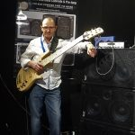 Wayne Jones with his Custom Fodera Monarch Elite 6 - Melbourne Guitar Show 2016