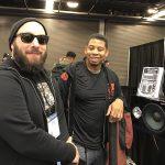 Bass player Steve Jenkins with Wayne Jones AUDIO endorsee David Dyson at NAMM 2017