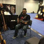 A passer by that was lured in by the sound @ Wayne Jones AUDIO NAMM 2016 booth